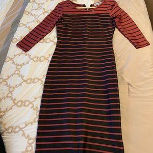 Red and Black striped Midi Dress